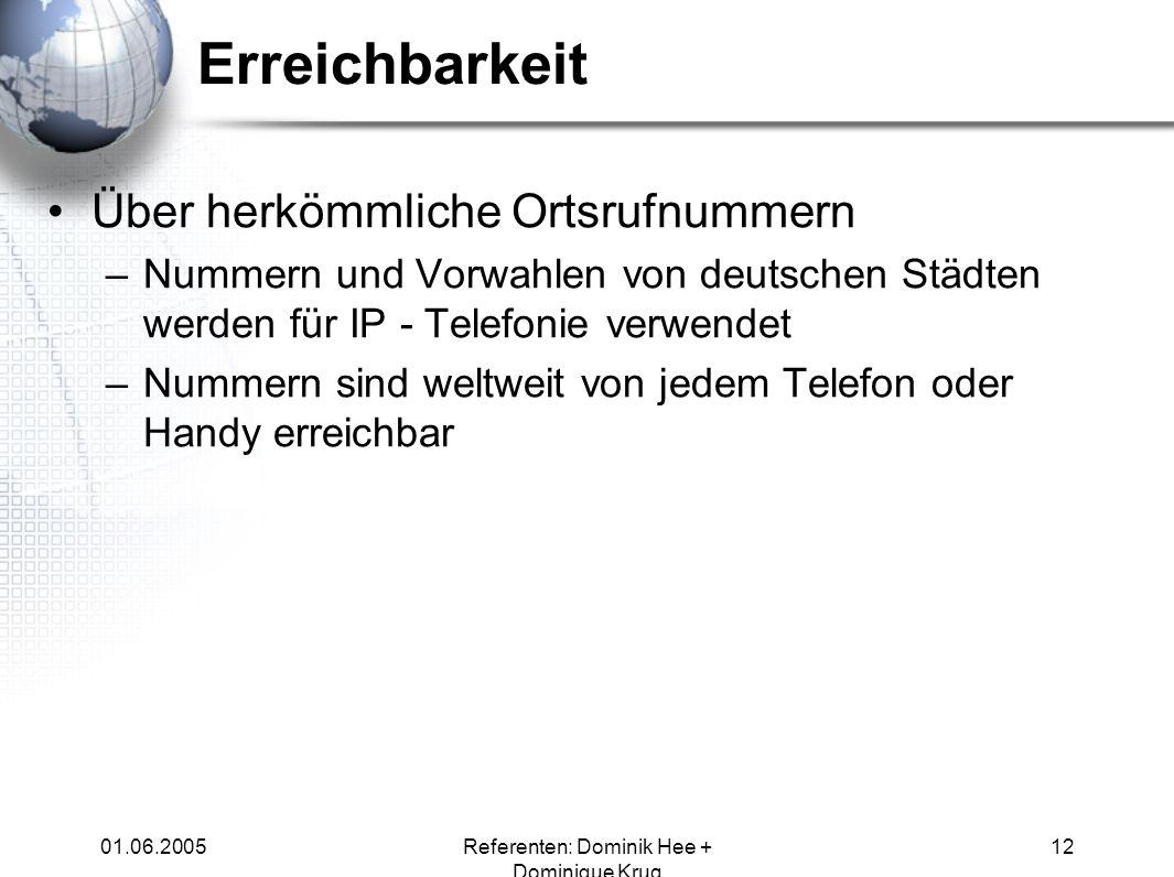 01.06.2005Referenten: Dominik Hee + Dominique Krug 12 Erreichbarkeit Über herkömmliche Ortsrufnummern –Nummern und Vorwahlen von deutschen Städten wer