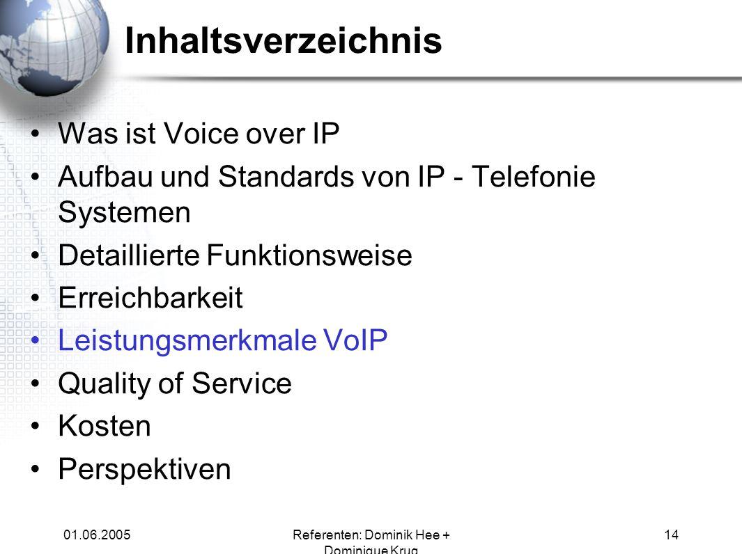 01.06.2005Referenten: Dominik Hee + Dominique Krug 14 Inhaltsverzeichnis Was ist Voice over IP Aufbau und Standards von IP - Telefonie Systemen Detail