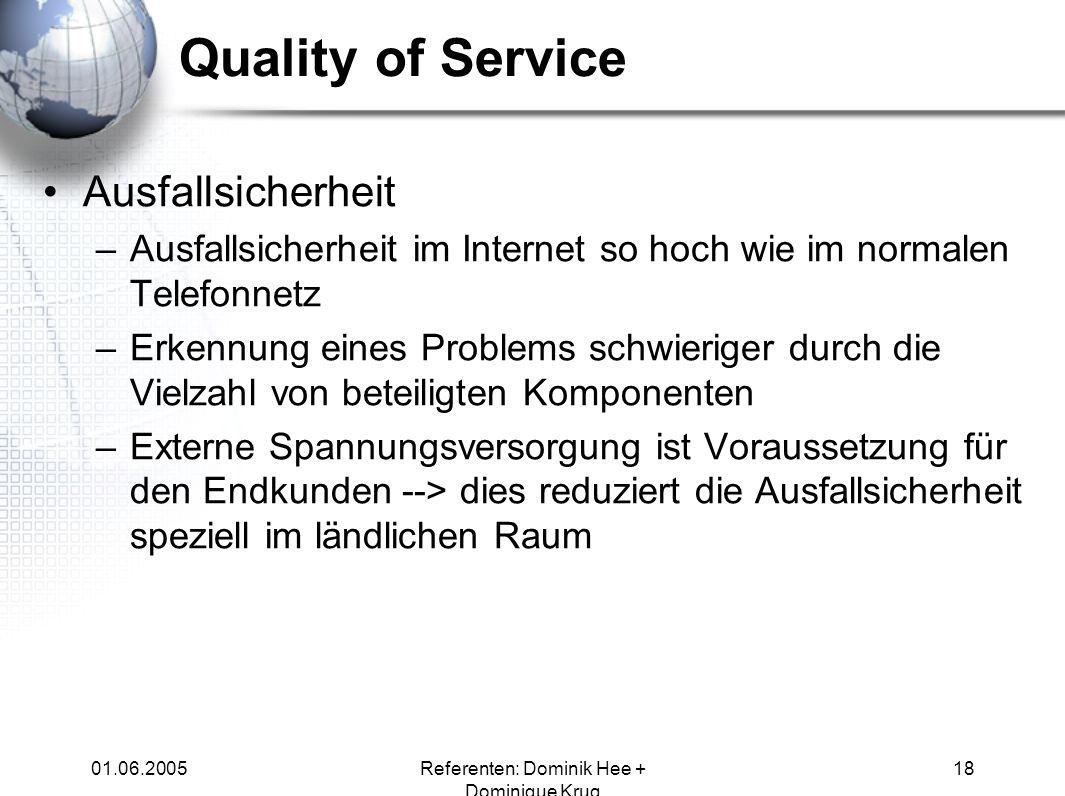 01.06.2005Referenten: Dominik Hee + Dominique Krug 18 Ausfallsicherheit –Ausfallsicherheit im Internet so hoch wie im normalen Telefonnetz –Erkennung
