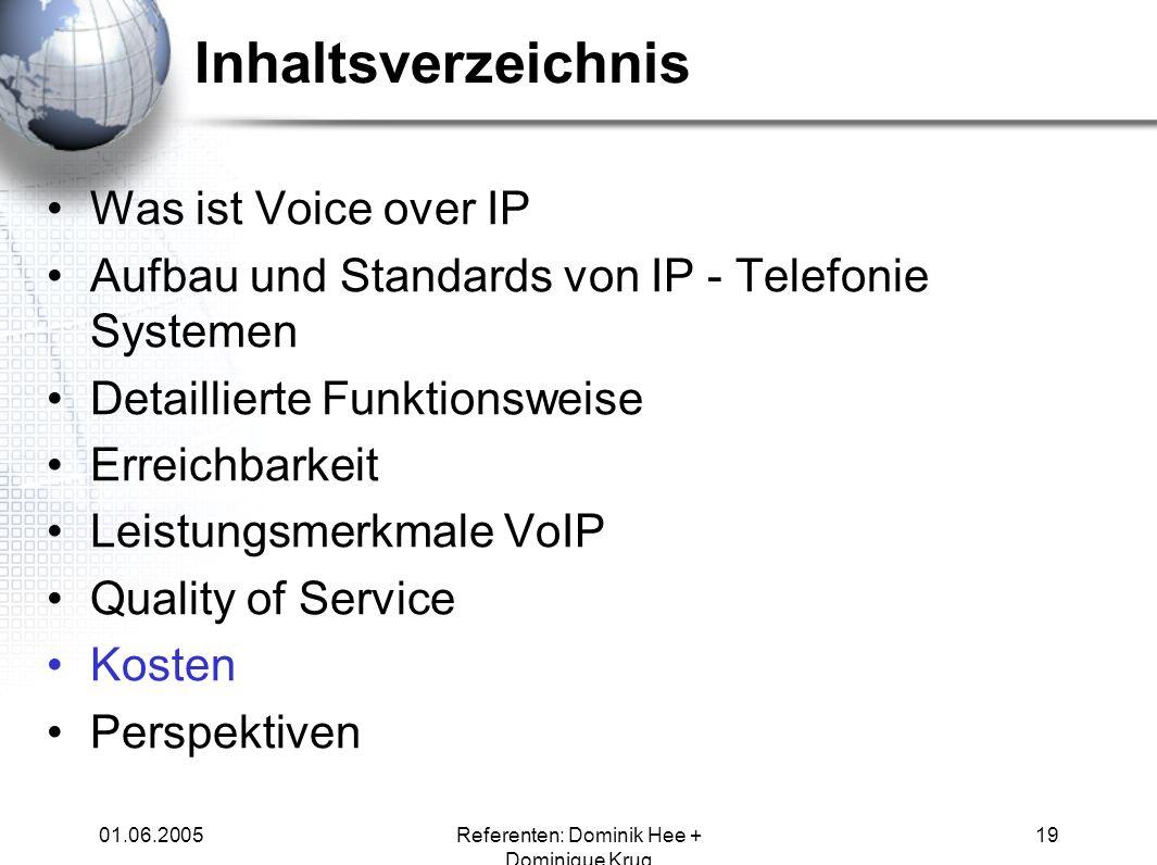 01.06.2005Referenten: Dominik Hee + Dominique Krug 19 Inhaltsverzeichnis Was ist Voice over IP Aufbau und Standards von IP - Telefonie Systemen Detail