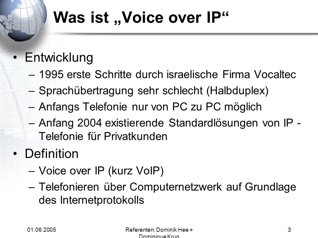 01.06.2005Referenten: Dominik Hee + Dominique Krug 3 Was ist Voice over IP Entwicklung –1995 erste Schritte durch israelische Firma Vocaltec –Sprachüb