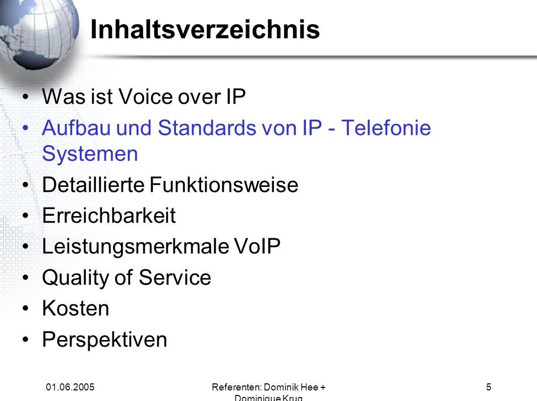 01.06.2005Referenten: Dominik Hee + Dominique Krug 5 Inhaltsverzeichnis Was ist Voice over IP Aufbau und Standards von IP - Telefonie Systemen Detaill