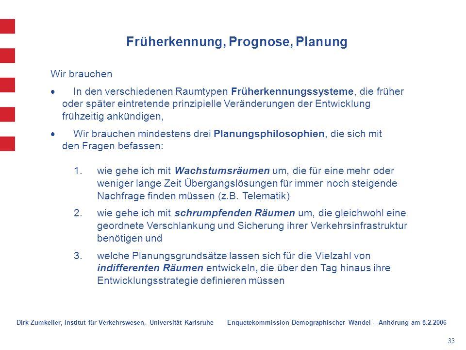 33 Früherkennung, Prognose, Planung Wir brauchen In den verschiedenen Raumtypen Früherkennungssysteme, die früher oder später eintretende prinzipielle Veränderungen der Entwicklung frühzeitig ankündigen, Wir brauchen mindestens drei Planungsphilosophien, die sich mit den Fragen befassen: 1.