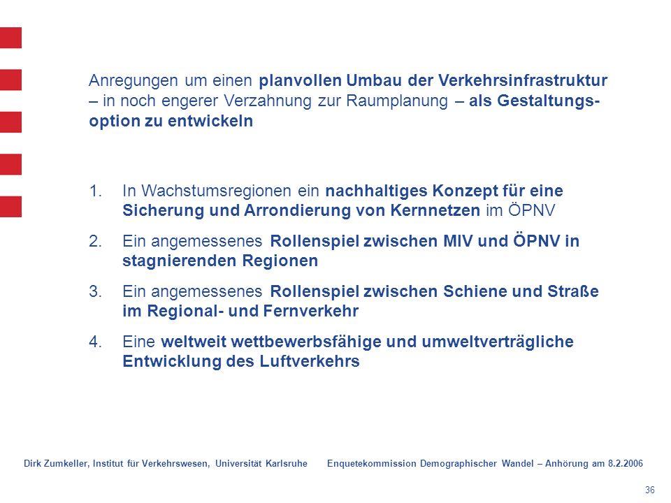 36 1.In Wachstumsregionen ein nachhaltiges Konzept für eine Sicherung und Arrondierung von Kernnetzen im ÖPNV 2.Ein angemessenes Rollenspiel zwischen MIV und ÖPNV in stagnierenden Regionen 3.Ein angemessenes Rollenspiel zwischen Schiene und Straße im Regional- und Fernverkehr 4.Eine weltweit wettbewerbsfähige und umweltverträgliche Entwicklung des Luftverkehrs Anregungen um einen planvollen Umbau der Verkehrsinfrastruktur – in noch engerer Verzahnung zur Raumplanung – als Gestaltungs- option zu entwickeln Dirk Zumkeller, Institut für Verkehrswesen, Universität Karlsruhe Enquetekommission Demographischer Wandel – Anhörung am 8.2.2006