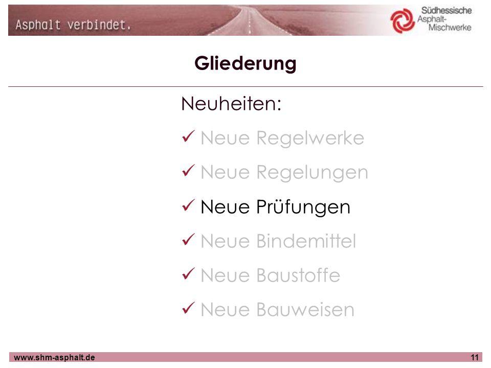 www.shm-asphalt.de11 Gliederung Neuheiten: Neue Regelwerke Neue Regelungen Neue Prüfungen Neue Bindemittel Neue Baustoffe Neue Bauweisen