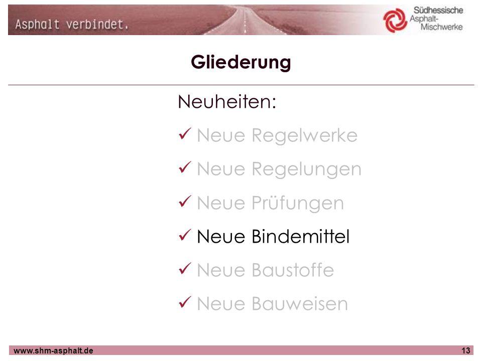 www.shm-asphalt.de13 Gliederung Neuheiten: Neue Regelwerke Neue Regelungen Neue Prüfungen Neue Bindemittel Neue Baustoffe Neue Bauweisen