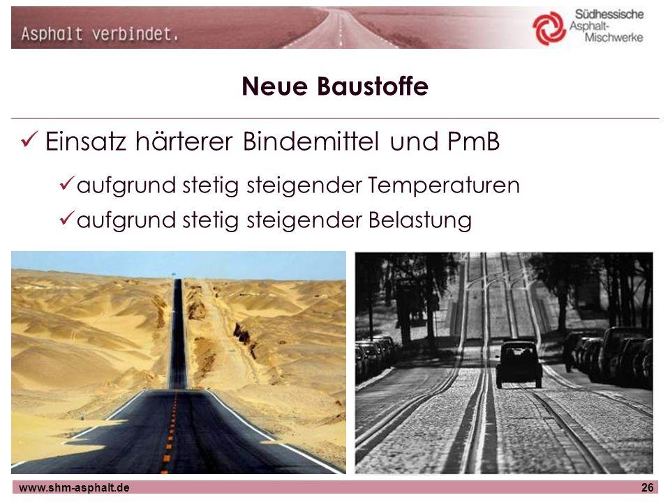 www.shm-asphalt.de26 Neue Baustoffe Einsatz härterer Bindemittel und PmB aufgrund stetig steigender Temperaturen aufgrund stetig steigender Belastung