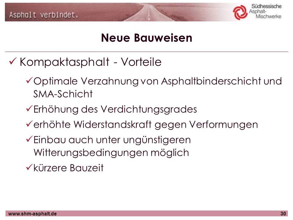 www.shm-asphalt.de30 Neue Bauweisen Kompaktasphalt - Vorteile Optimale Verzahnung von Asphaltbinderschicht und SMA-Schicht Erhöhung des Verdichtungsgr