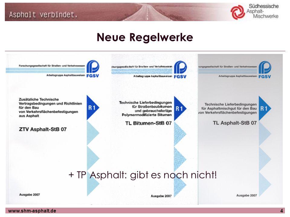 www.shm-asphalt.de5 Gliederung Neuheiten: Neue Regelwerke Neue Regelungen Neue Prüfungen Neue Bindemittel Neue Baustoffe Neue Bauweisen