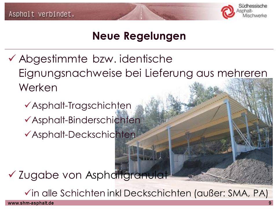 www.shm-asphalt.de9 Neue Regelungen Abgestimmte bzw. identische Eignungsnachweise bei Lieferung aus mehreren Werken Asphalt-Tragschichten Asphalt-Bind