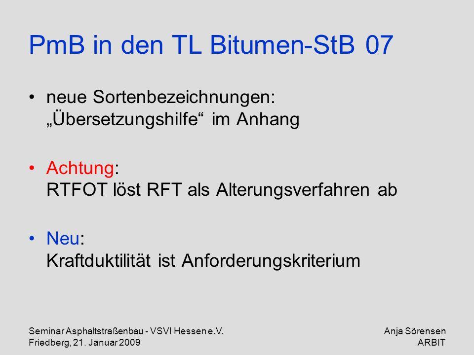 Seminar Asphaltstraßenbau - VSVI Hessen e.V. Friedberg, 21. Januar 2009 Anja Sörensen ARBIT PmB in den TL Bitumen-StB 07 neue Sortenbezeichnungen: Übe