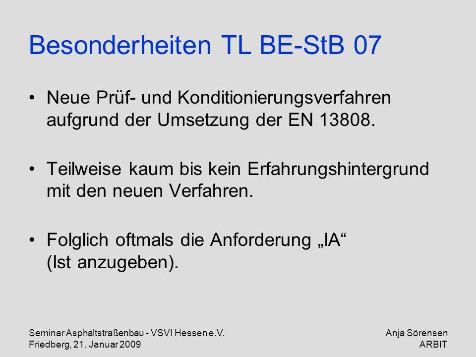 Seminar Asphaltstraßenbau - VSVI Hessen e.V. Friedberg, 21. Januar 2009 Anja Sörensen ARBIT Besonderheiten TL BE-StB 07 Neue Prüf- und Konditionierung