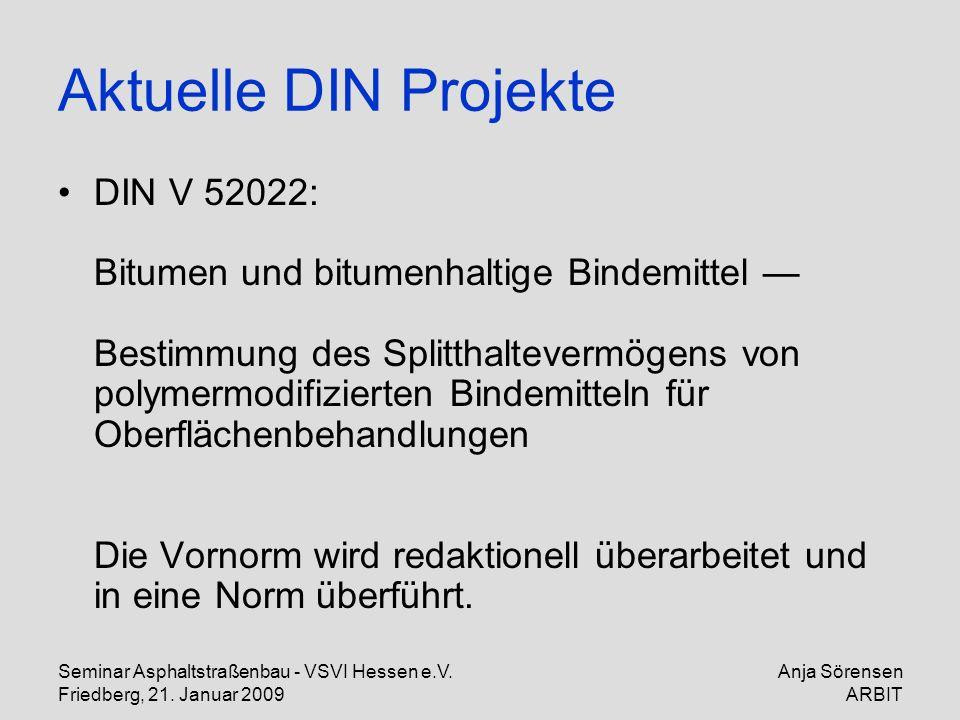 Seminar Asphaltstraßenbau - VSVI Hessen e.V. Friedberg, 21. Januar 2009 Anja Sörensen ARBIT Aktuelle DIN Projekte DIN V 52022: Bitumen und bitumenhalt