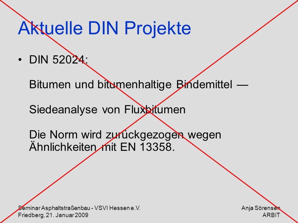 Seminar Asphaltstraßenbau - VSVI Hessen e.V. Friedberg, 21. Januar 2009 Anja Sörensen ARBIT Aktuelle DIN Projekte DIN 52024: Bitumen und bitumenhaltig