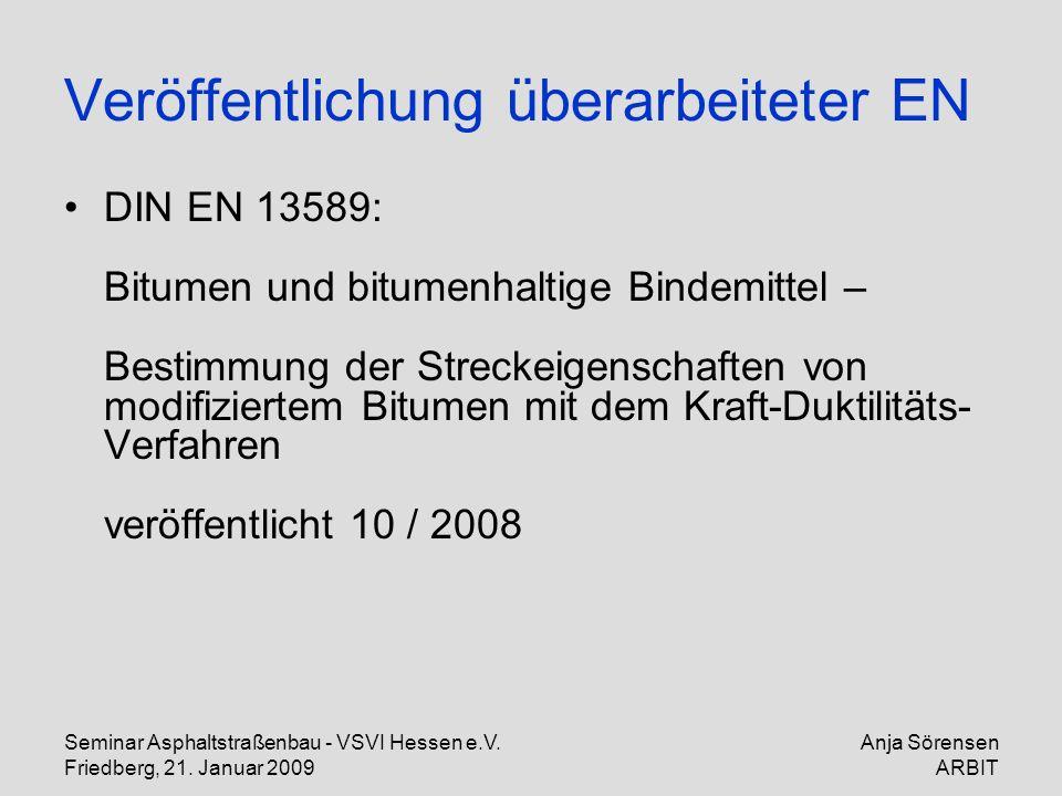 Seminar Asphaltstraßenbau - VSVI Hessen e.V. Friedberg, 21. Januar 2009 Anja Sörensen ARBIT Veröffentlichung überarbeiteter EN DIN EN 13589: Bitumen u