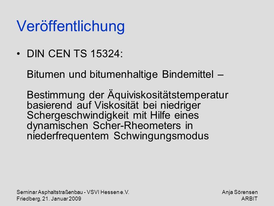 Seminar Asphaltstraßenbau - VSVI Hessen e.V. Friedberg, 21. Januar 2009 Anja Sörensen ARBIT Veröffentlichung DIN CEN TS 15324: Bitumen und bitumenhalt