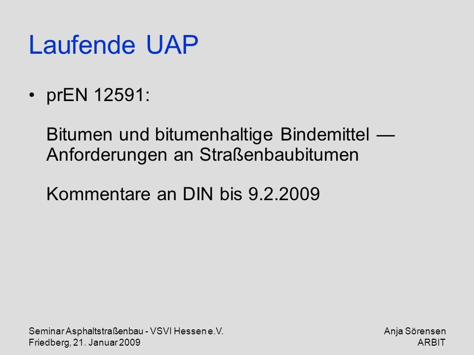 Seminar Asphaltstraßenbau - VSVI Hessen e.V. Friedberg, 21. Januar 2009 Anja Sörensen ARBIT Laufende UAP prEN 12591: Bitumen und bitumenhaltige Bindem