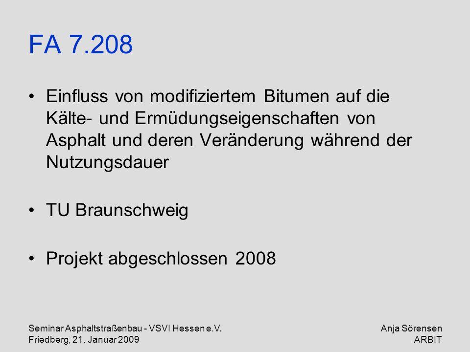 Seminar Asphaltstraßenbau - VSVI Hessen e.V. Friedberg, 21. Januar 2009 Anja Sörensen ARBIT FA 7.208 Einfluss von modifiziertem Bitumen auf die Kälte-