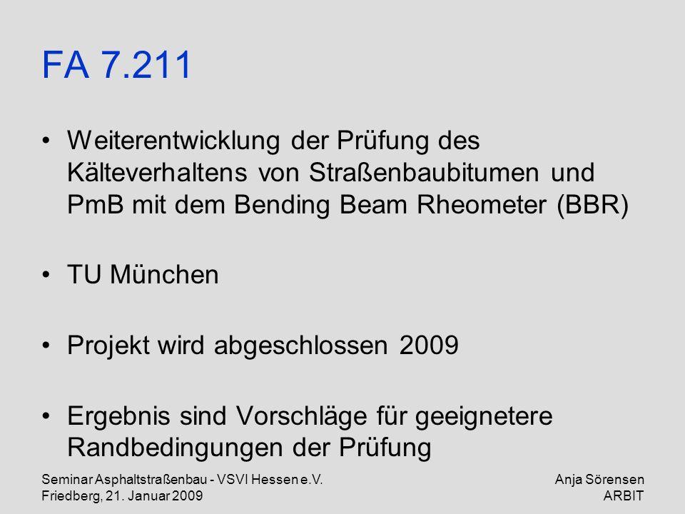 Seminar Asphaltstraßenbau - VSVI Hessen e.V. Friedberg, 21. Januar 2009 Anja Sörensen ARBIT FA 7.211 Weiterentwicklung der Prüfung des Kälteverhaltens