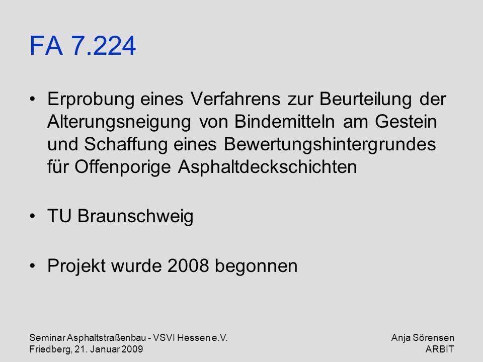 Seminar Asphaltstraßenbau - VSVI Hessen e.V. Friedberg, 21. Januar 2009 Anja Sörensen ARBIT FA 7.224 Erprobung eines Verfahrens zur Beurteilung der Al