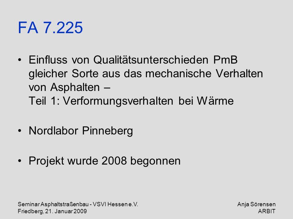 Seminar Asphaltstraßenbau - VSVI Hessen e.V. Friedberg, 21. Januar 2009 Anja Sörensen ARBIT FA 7.225 Einfluss von Qualitätsunterschieden PmB gleicher