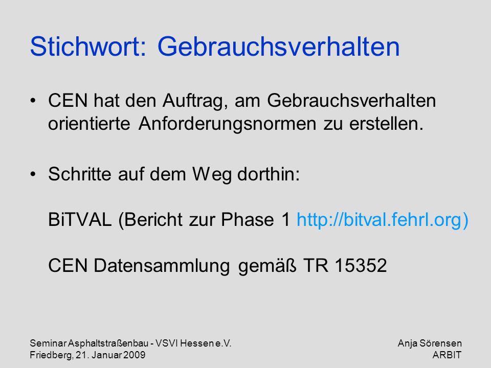 Seminar Asphaltstraßenbau - VSVI Hessen e.V. Friedberg, 21. Januar 2009 Anja Sörensen ARBIT Stichwort: Gebrauchsverhalten CEN hat den Auftrag, am Gebr