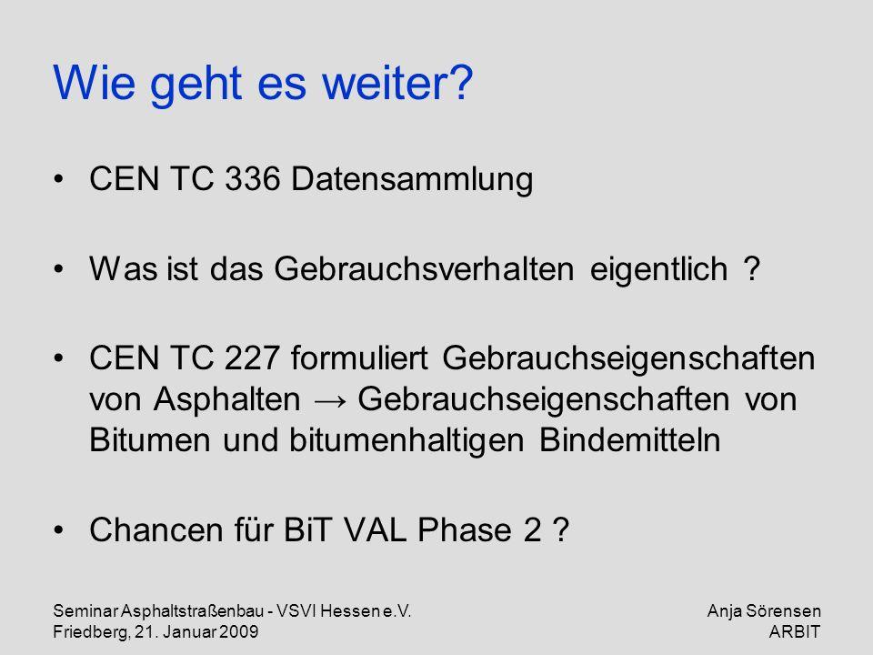 Seminar Asphaltstraßenbau - VSVI Hessen e.V. Friedberg, 21. Januar 2009 Anja Sörensen ARBIT Wie geht es weiter? CEN TC 336 Datensammlung Was ist das G