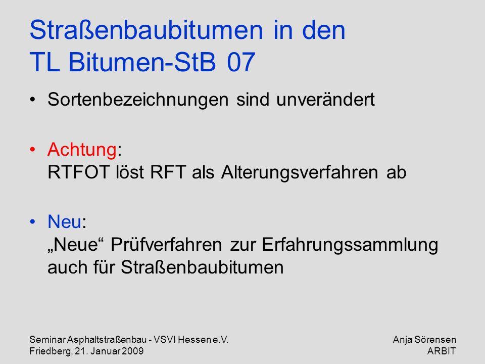 Seminar Asphaltstraßenbau - VSVI Hessen e.V. Friedberg, 21. Januar 2009 Anja Sörensen ARBIT Straßenbaubitumen in den TL Bitumen-StB 07 Sortenbezeichnu