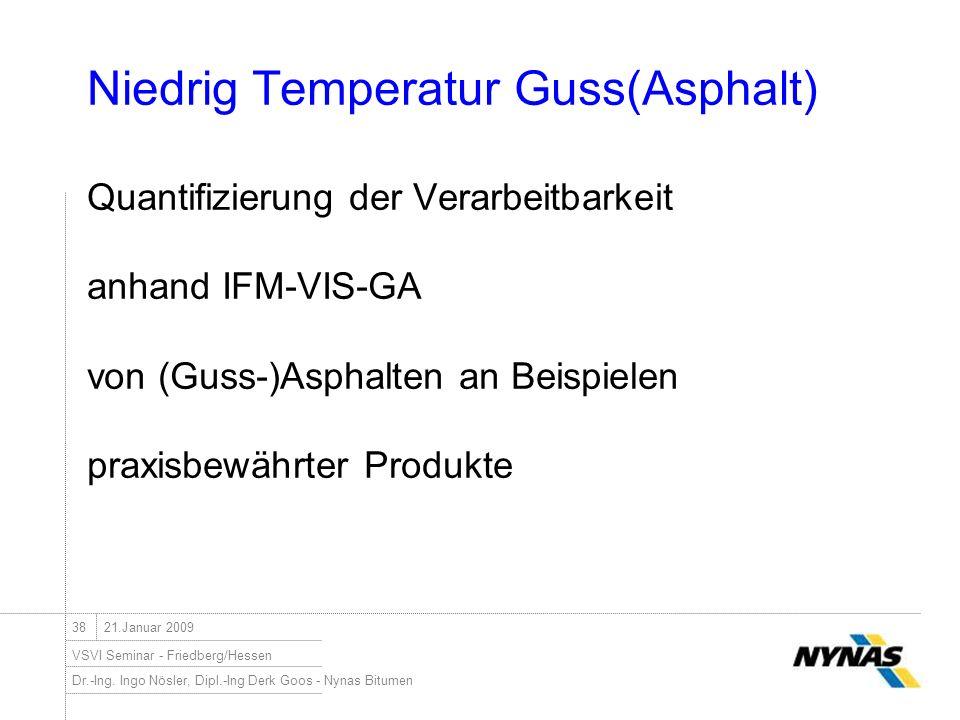 Dr.-Ing. Ingo Nösler, Dipl.-Ing Derk Goos - Nynas Bitumen VSVI Seminar - Friedberg/Hessen 3821.Januar 2009 Niedrig Temperatur Guss(Asphalt) Quantifizi