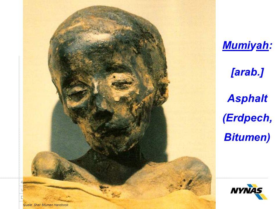 Dr.-Ing. Ingo Nösler, Dipl.-Ing Derk Goos - Nynas Bitumen VSVI Seminar - Friedberg/Hessen 421.Januar 2009 Mumiyah: [arab.] Asphalt (Erdpech, Bitumen)