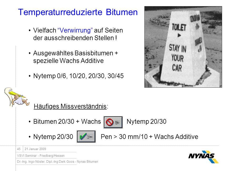 Dr.-Ing. Ingo Nösler, Dipl.-Ing Derk Goos - Nynas Bitumen VSVI Seminar - Friedberg/Hessen 4521.Januar 2009 Temperaturreduzierte Bitumen Vielfach Verwi