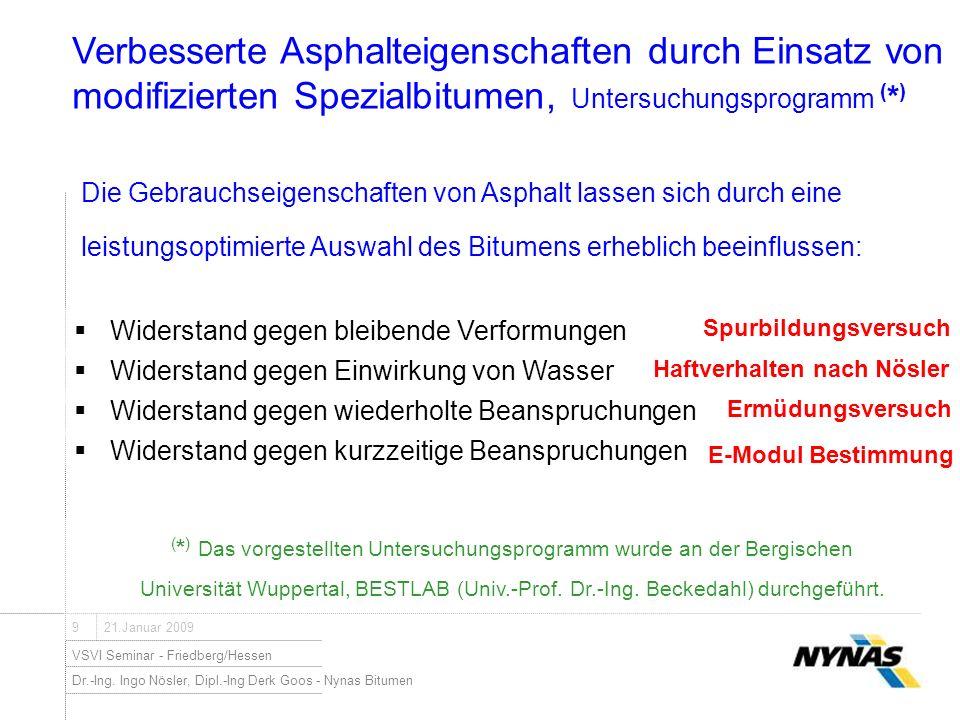 Dr.-Ing. Ingo Nösler, Dipl.-Ing Derk Goos - Nynas Bitumen VSVI Seminar - Friedberg/Hessen 921.Januar 2009 Widerstand gegen bleibende Verformungen ( *