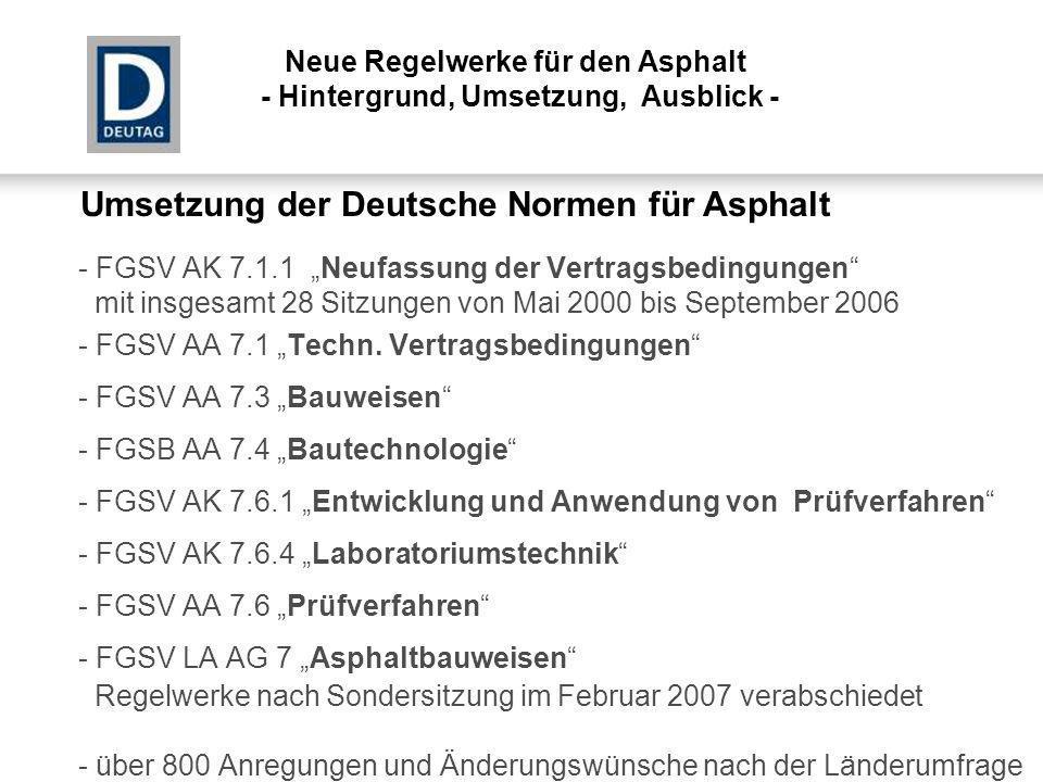 Umsetzung der Deutsche Normen für Asphalt - FGSV AK 7.1.1 Neufassung der Vertragsbedingungen mit insgesamt 28 Sitzungen von Mai 2000 bis September 200