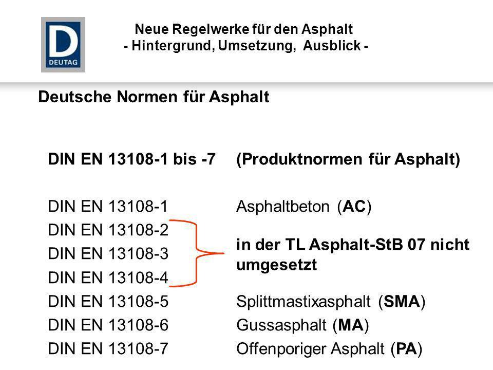 Deutsche Normen für Asphalt DIN EN 13108-1 bis -7(Produktnormen für Asphalt) DIN EN 13108-1Asphaltbeton (AC) DIN EN 13108-2Asphaltbeton für dünne Schi