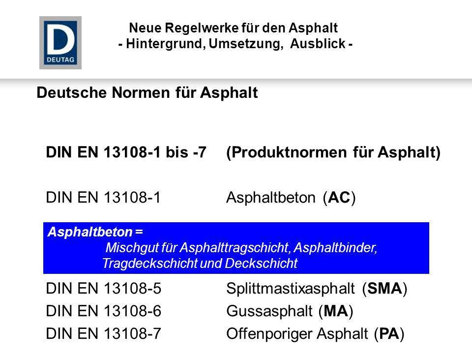 Deutsche Normen für Asphalt DIN EN 13108-1 bis -7(Produktnormen für Asphalt) DIN EN 13108-1Asphaltbeton (AC) DIN EN 13108-5Splittmastixasphalt (SMA) D