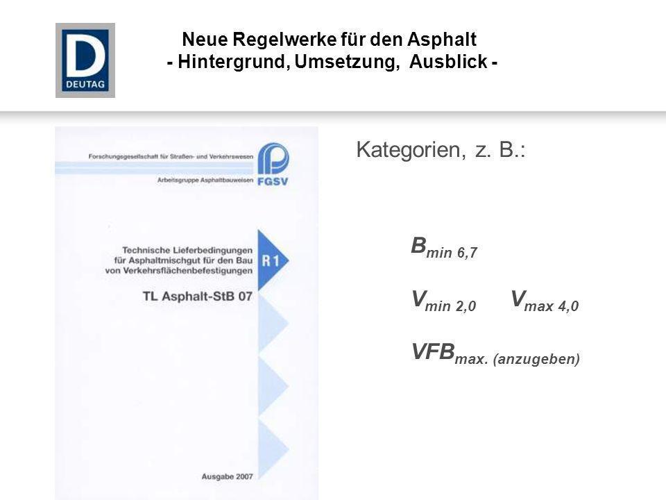 Kategorien, z. B.: B min 6,7 V min 2,0 V max 4,0 VFB max. (anzugeben) Neue Regelwerke für den Asphalt - Hintergrund, Umsetzung, Ausblick -