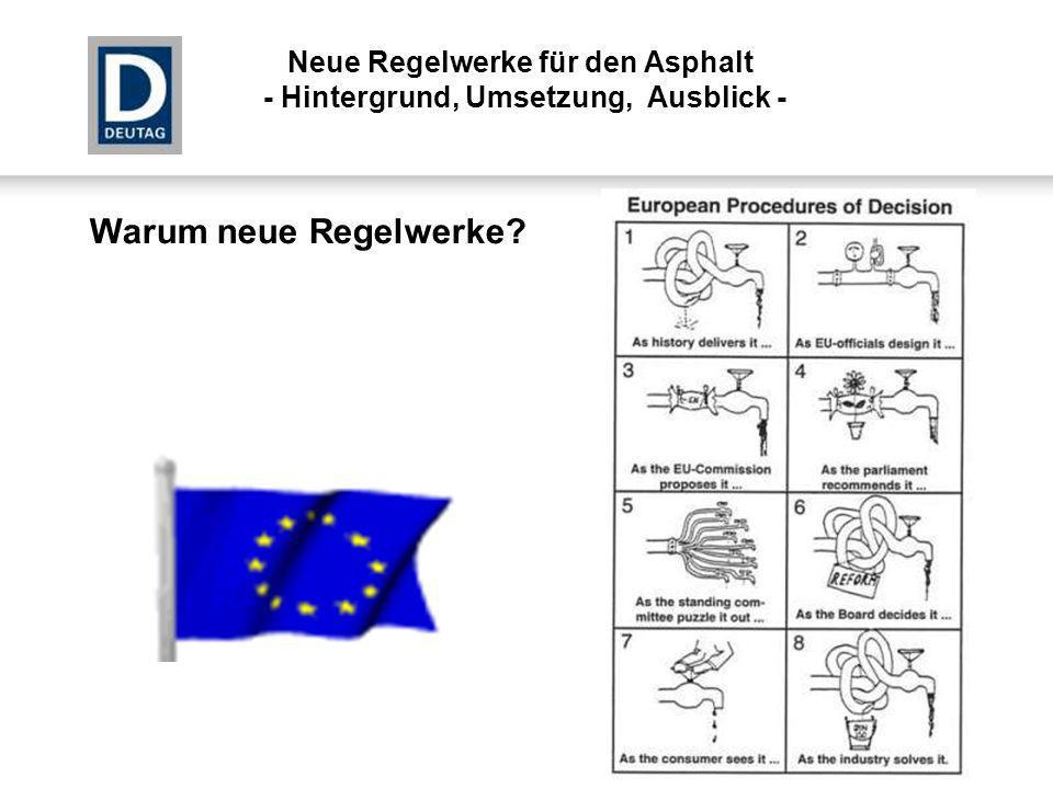 Warum neue Regelwerke? Neue Regelwerke für den Asphalt - Hintergrund, Umsetzung, Ausblick -