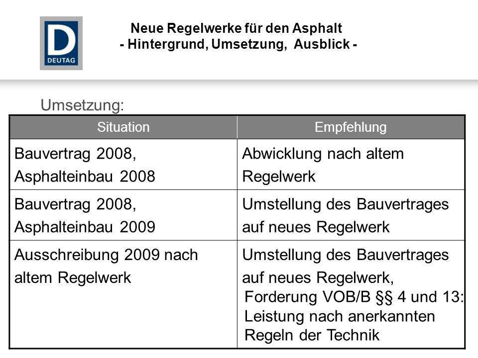 Umsetzung: Neue Regelwerke für den Asphalt - Hintergrund, Umsetzung, Ausblick - SituationEmpfehlung Bauvertrag 2008, Asphalteinbau 2008 Abwicklung nac