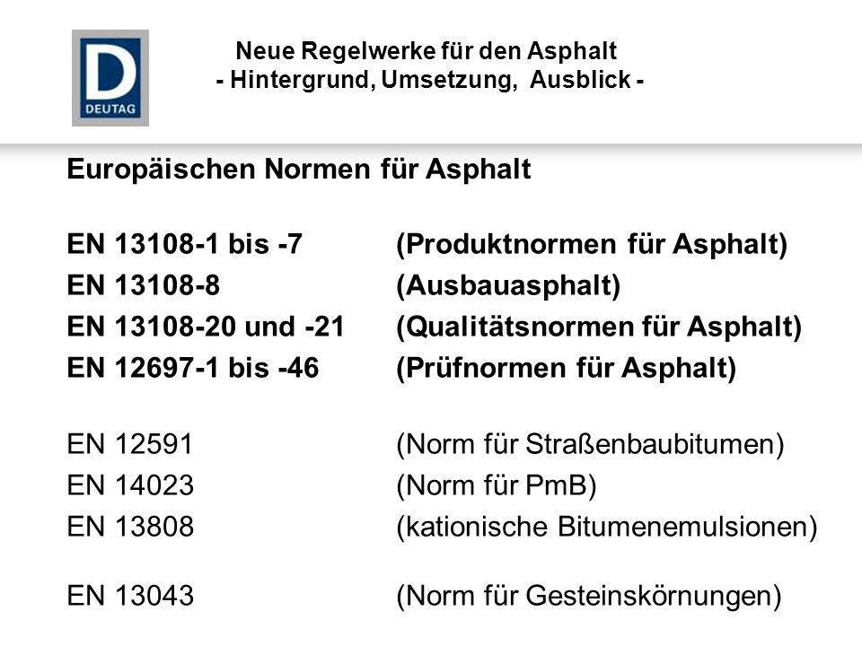 EN 13108-1 bis -7(Produktnormen für Asphalt) EN 13108-1Asphaltbeton (AC) EN 13108-2Asphaltbeton für dünne Schichten (ACVTL) EN 13108-3Soft Asphalt (SA) EN 13108-4Hot Rolled Asphalt (HRA) EN 13108-5Splittmastixasphalt (SMA) EN 13108-6Gussasphalt (MA) EN 13108-7Offenporiger Asphalt (PA) DIN Deutsche Normen für Asphalt Neue Regelwerke für den Asphalt - Hintergrund, Umsetzung, Ausblick -