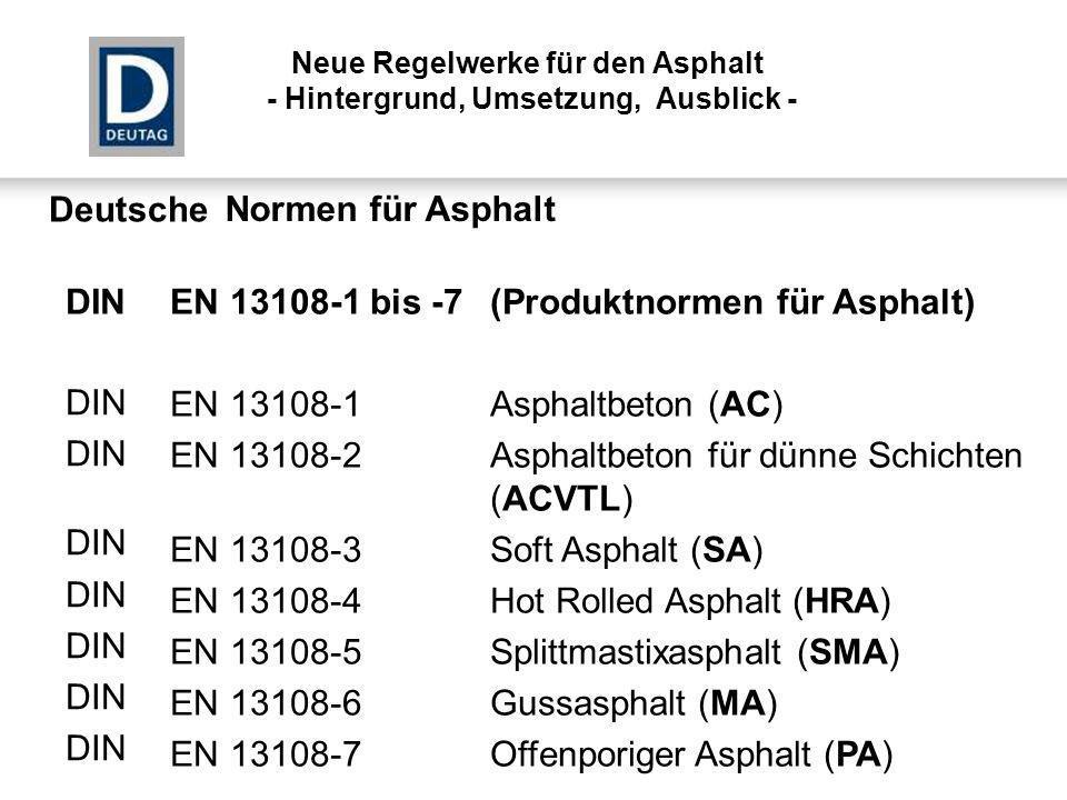 EN 13108-1 bis -7(Produktnormen für Asphalt) EN 13108-1Asphaltbeton (AC) EN 13108-2Asphaltbeton für dünne Schichten (ACVTL) EN 13108-3Soft Asphalt (SA