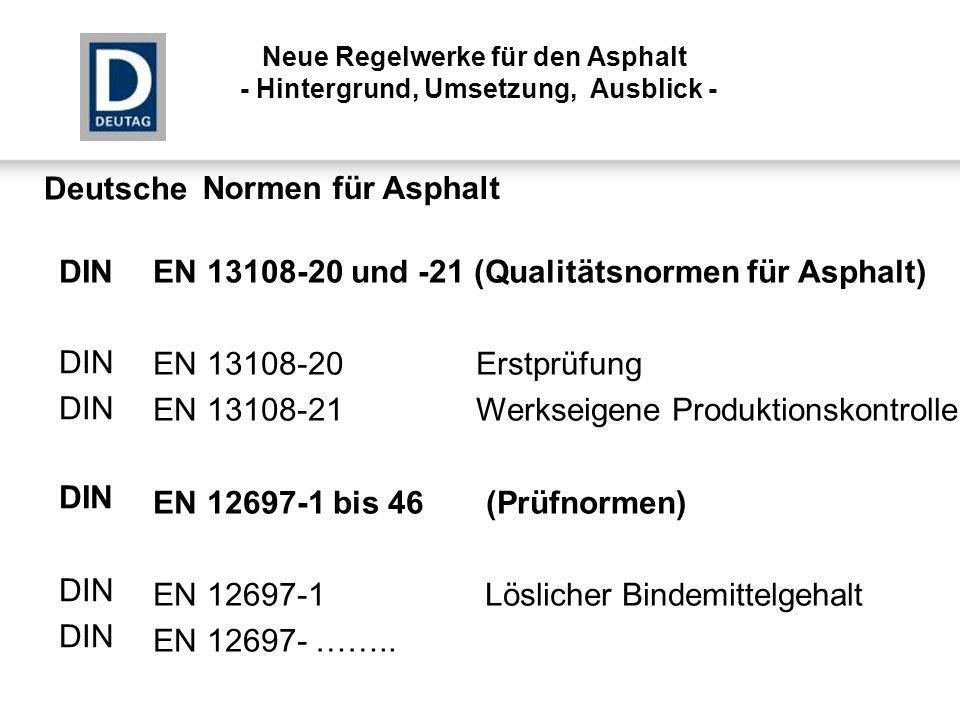 EN 13108-20 und -21 (Qualitätsnormen für Asphalt) EN 13108-20 Erstprüfung EN 13108-21 Werkseigene Produktionskontrolle EN 12697-1 bis 46 (Prüfnormen)