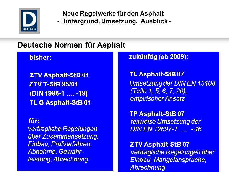 Deutsche Normen für Asphalt bisher: ZTV Asphalt-StB 01 ZTV T-StB 95/01 (DIN 1996-1 …. -19) TL G Asphalt-StB 01 für: vertragliche Regelungen über Zusam