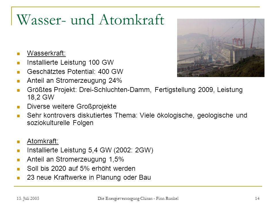 15. Juli 2005 Die Energieversorgung Chinas - Finn Runkel 14 Wasser- und Atomkraft Wasserkraft: Installierte Leistung 100 GW Geschätztes Potential: 400