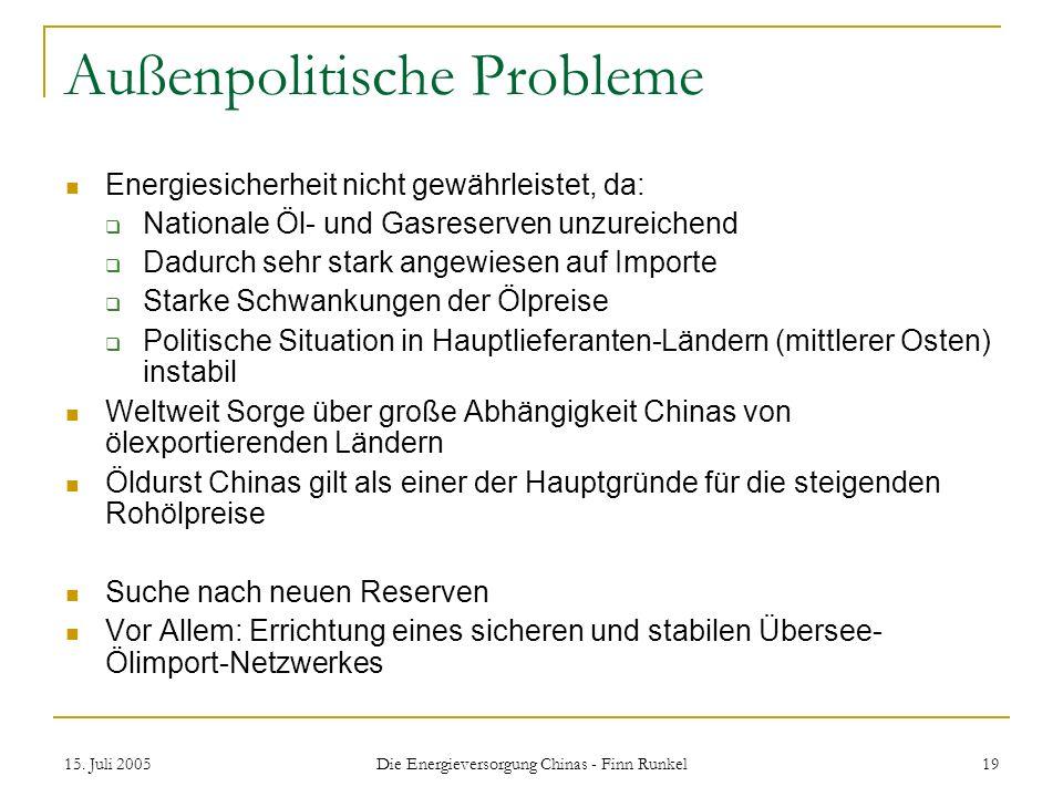 15. Juli 2005 Die Energieversorgung Chinas - Finn Runkel 19 Außenpolitische Probleme Energiesicherheit nicht gewährleistet, da: Nationale Öl- und Gasr