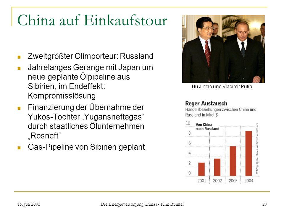 15. Juli 2005 Die Energieversorgung Chinas - Finn Runkel 20 China auf Einkaufstour Zweitgrößter Ölimporteur: Russland Jahrelanges Gerange mit Japan um