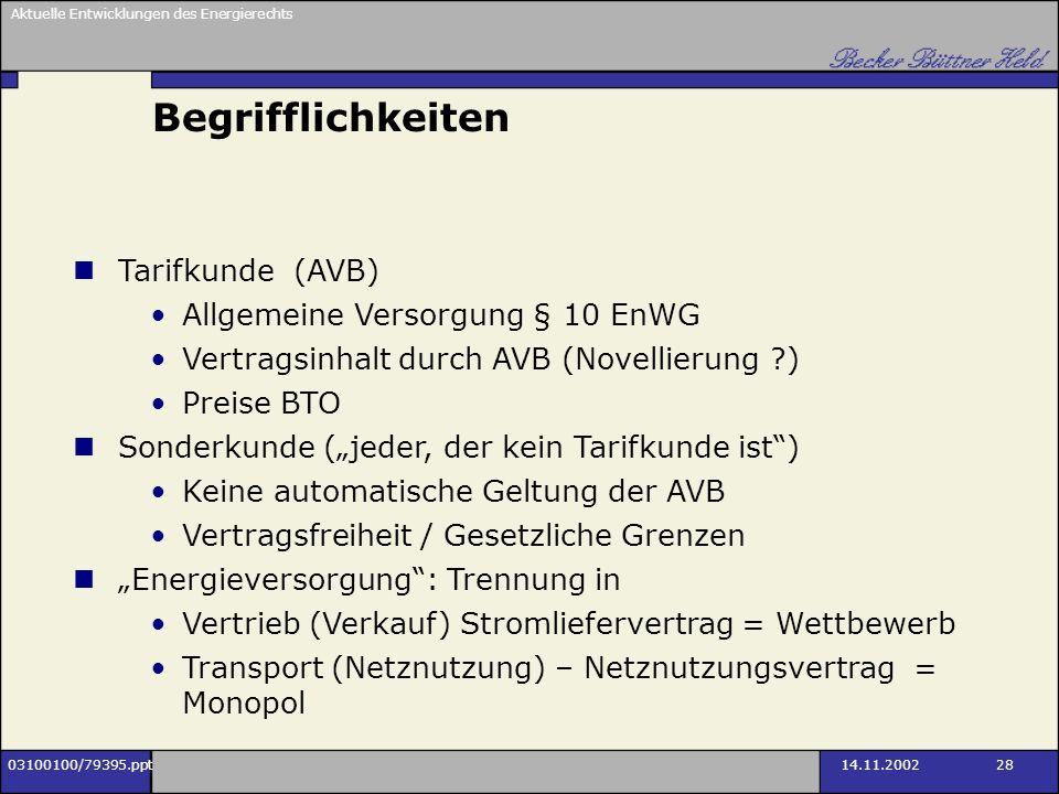 Aktuelle Entwicklungen des Energierechts 03100100/79395.ppt14.11.2002 28 Begrifflichkeiten Tarifkunde (AVB) Allgemeine Versorgung § 10 EnWG Vertragsin
