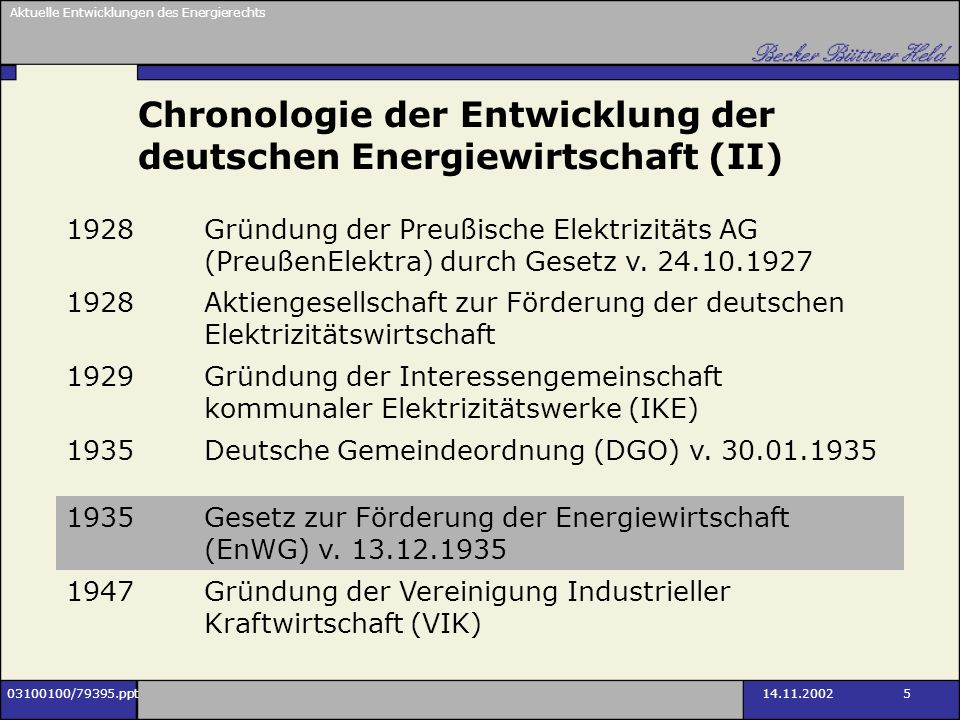 Aktuelle Entwicklungen des Energierechts 03100100/79395.ppt14.11.2002 5 Chronologie der Entwicklung der deutschen Energiewirtschaft (II) 1928Gründung