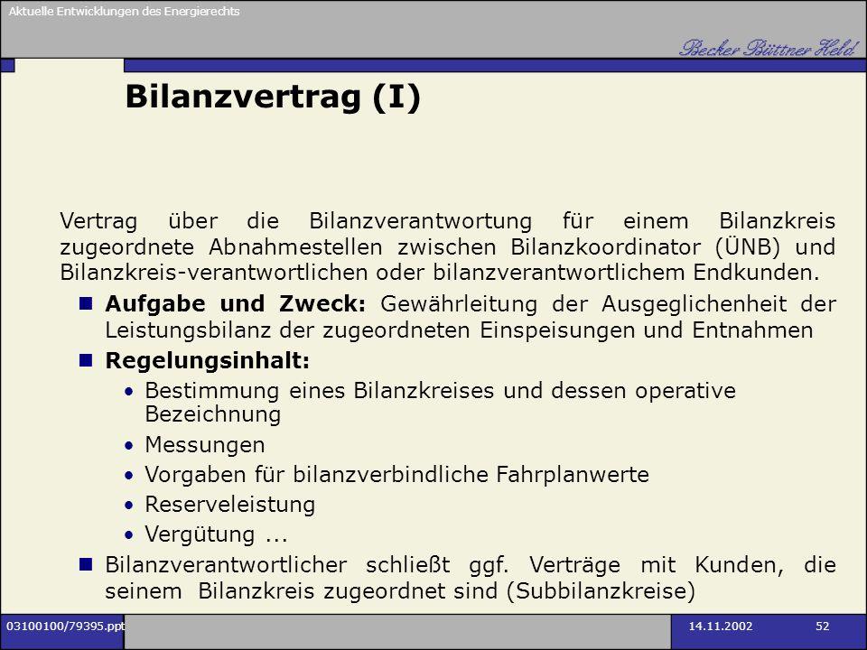 Aktuelle Entwicklungen des Energierechts 03100100/79395.ppt14.11.2002 52 Bilanzvertrag (I) Vertrag über die Bilanzverantwortung für einem Bilanzkreis