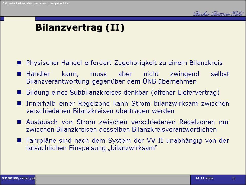 Aktuelle Entwicklungen des Energierechts 03100100/79395.ppt14.11.2002 53 Bilanzvertrag (II) Physischer Handel erfordert Zugehörigkeit zu einem Bilanzk