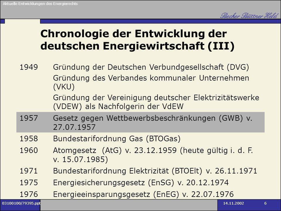 Aktuelle Entwicklungen des Energierechts 03100100/79395.ppt14.11.2002 6 Chronologie der Entwicklung der deutschen Energiewirtschaft (III) 1949Gründung